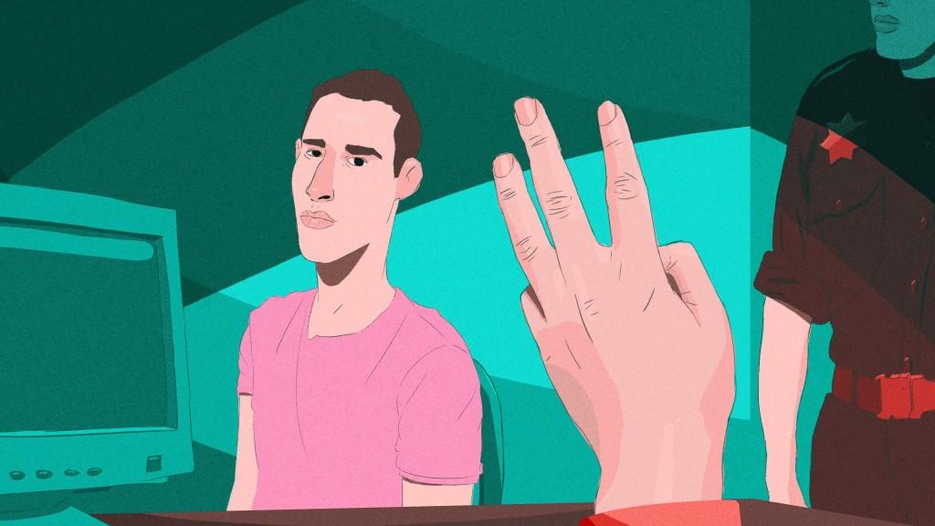 """""""Son tres de los verdes"""", le dijo el oficicial de inmigración a Jorge antes de salir del aeropuerto de Nuevo Laredo. / Ilustración: Ricardo Weibezahn"""