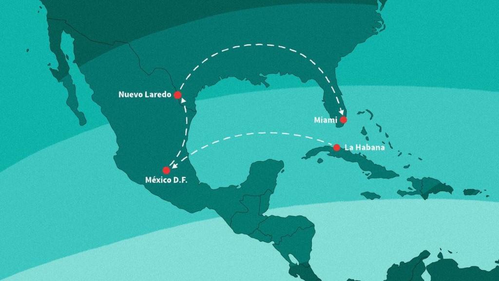 Este es el trayecto que siguió Jorge Carrasco para migrar de La Habana a Miami. Ricardo Weibezahn
