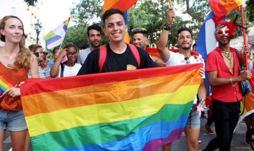Jancel Moreno en la marcha de la comunidad LGTBTI+ en La Habana / Foto: Alba Graciela