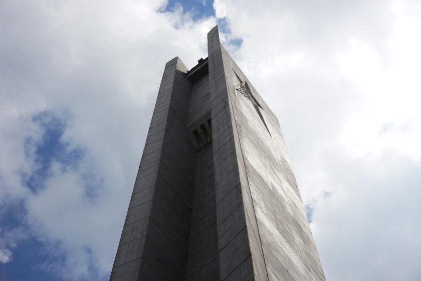 Detalle (la estrella en la cima) de monumento en Buzludzha, Bulgaria. Llamado el OVNI comunista. Foto: Alejandro Taquechel.