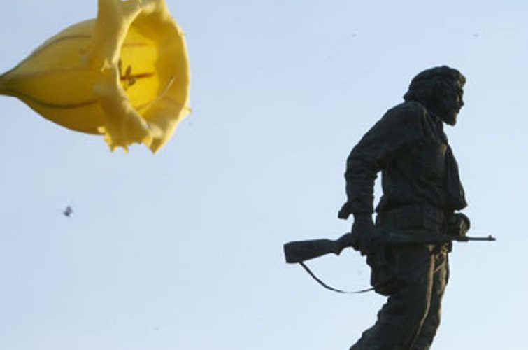Monumento del Che con una flor de campana amarilla