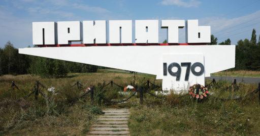 Letrero de entrada a Chernóbil