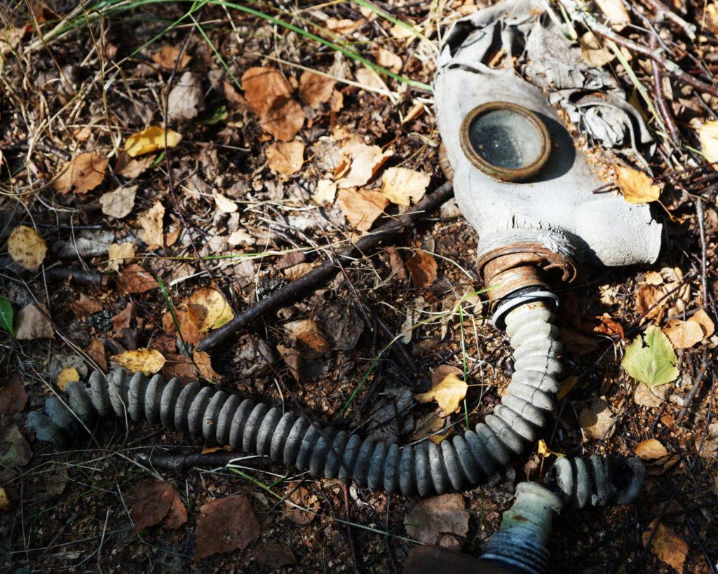 Máscara antigas tirada en Chernóbil