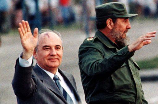 Fidel Castro y Mijail Gorbachov a Cuba, el 2 de abril de 1989