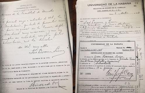 Papelería de su expediente académico / Cortesía de José Prats Sariol
