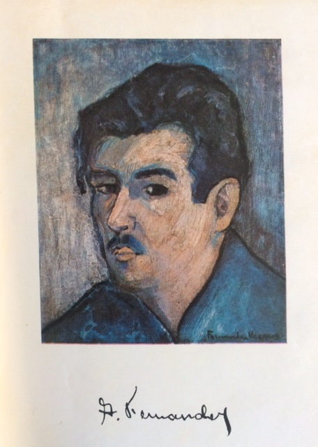Autorretrato de Arístides Fernández (1930?), impreso como cuatricromía en la edición de sus Cuentos hecha por la Administración Municipal de Marianao, Instituto Muninical de Cultura (1959).