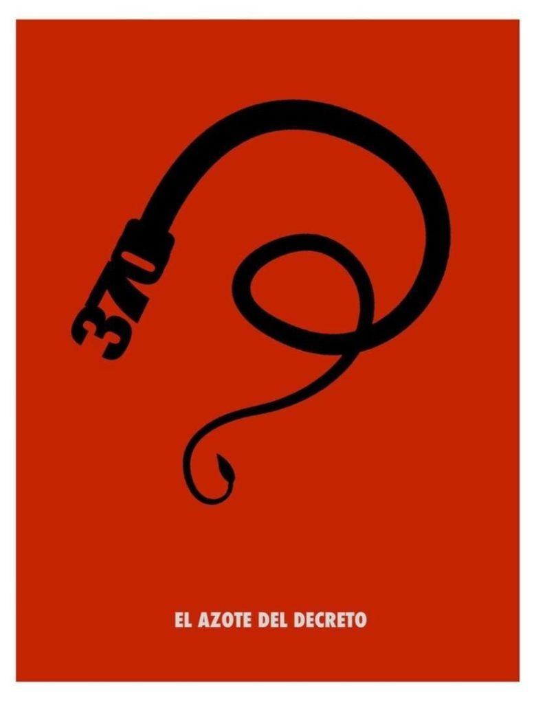Cartel realizado por activistas cubanos para ilustrar el Drecreto Ley 370
