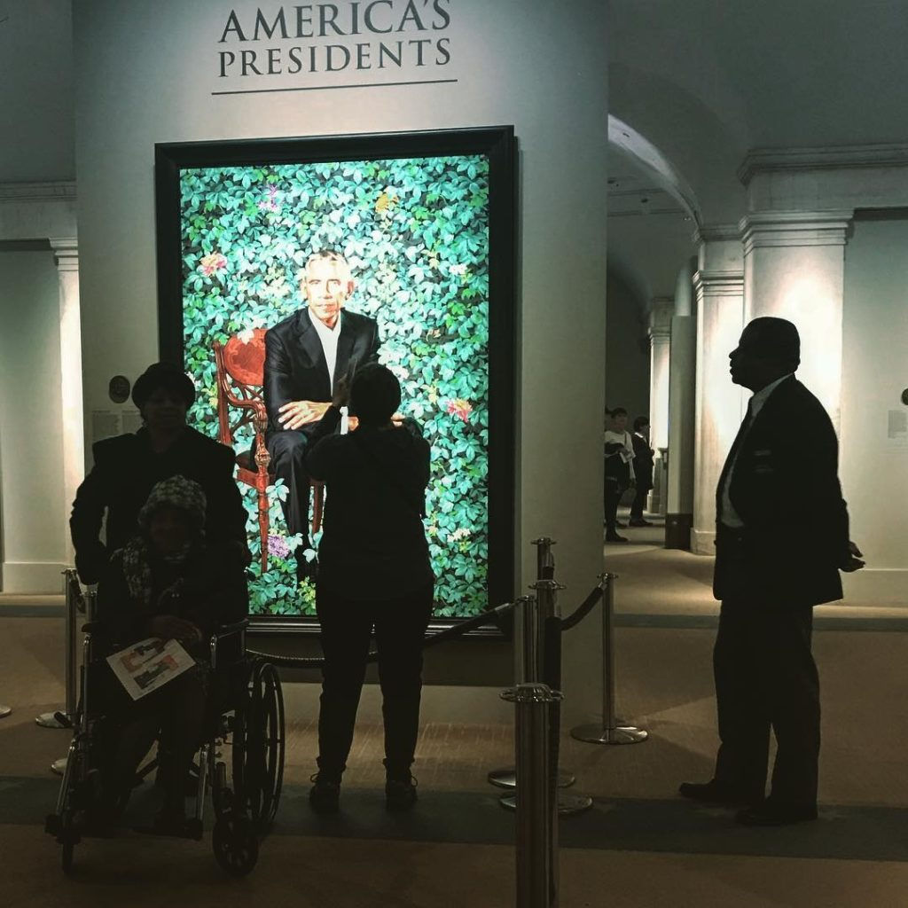 """Retrato de Barack Obama en la exhibición """"America's Presidents""""/Foto: Cortesía de la autora"""