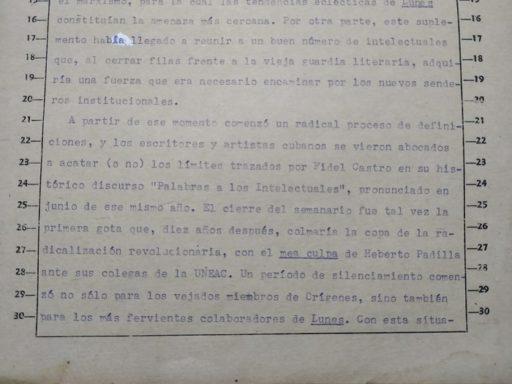 """Texto original de """"Lunes de Orígenes. Notas sobre la reacción antiorigenista en Lunes de Revolución"""". Cortesía de la entrevistada."""