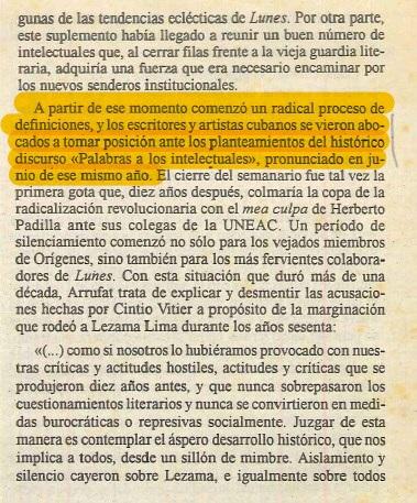 Supresión del nombre de Fidel Castro en la versión publicada en El Caimán Barbudo, La Habana, año XXX, ed. 283, p. 26. Cortesía de la entrevistada.