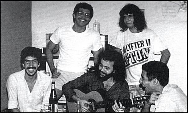 Juan Pin Vilar, Eduardo Corzo, Carlos Varela, Santiago Feliú y Oriente López. 1984 / Foto: Tomada de Facebook