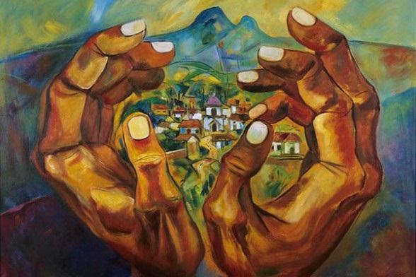 Imagen: Reproducción de Lugar natal (1989), de Eduardo Kingman (1013-1997). Óleo sobre lienzo. Banco Interamericano de Desarrollo, Washington, Estados Unidos.
