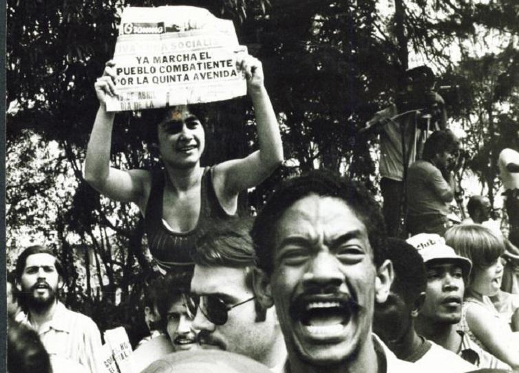 Marcha por Quinta Avenida frente a la Embajada del Perú. La Habana, 1980/ Foto: Granma/Fernando Lezcano
