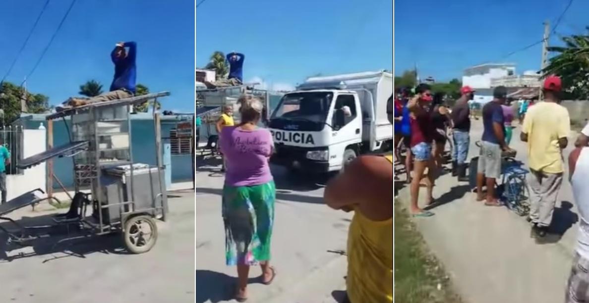 Protesta en Caibarién / Foto: Ruhama Fernández-YouTube
