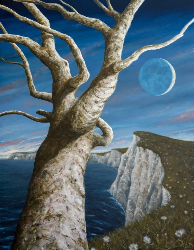 Clairvoyant's Cliff. Oil on Canvas 72 x 56 inches. 2020. Julio Figueroa-Beltrán.
