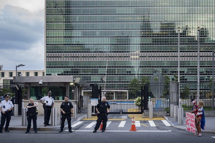 Frente a Naciones Unidas, Nueva York, 16 de julio de 2021 / Foto: Juan Caballero