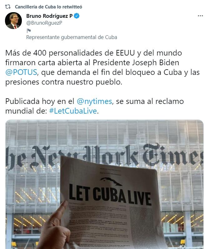 Tuit de Bruno Rodríguez, canciller de Cuba