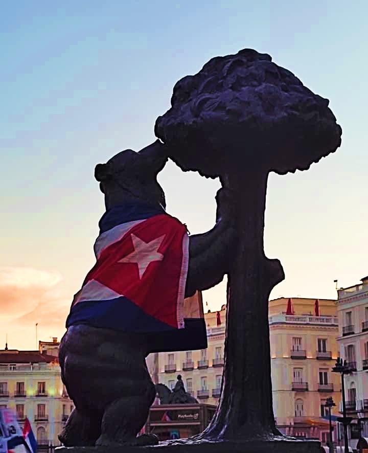 Durante la marcha de cubanos en Madrid / Foto: Massiel Rubio